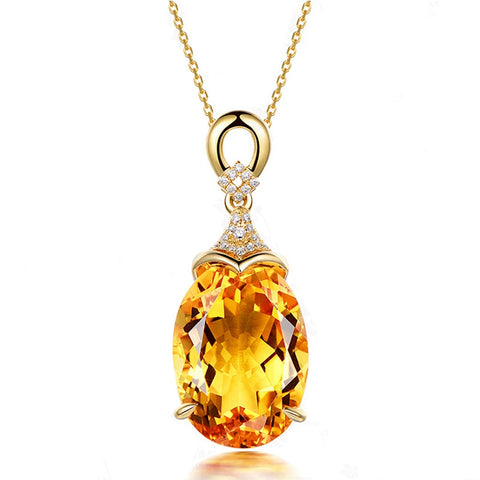 925 Sterling Silver Yellow Citrine Pendant Necklaces