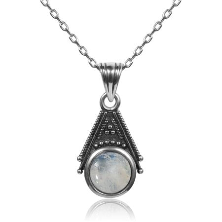 925 Sterling Silver Special Design 6mm Natural Moonstone Pendant Necklace