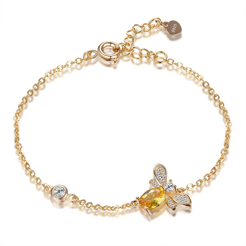 925 Sterling Silver Cute Gold Color Women Chain & Link Insect Bee Yellow Spinel Bracelet