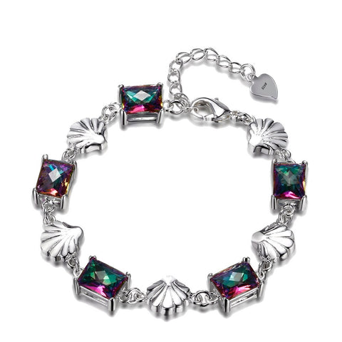 925 Sterling Silver Multicolor Gemstone Bracelet