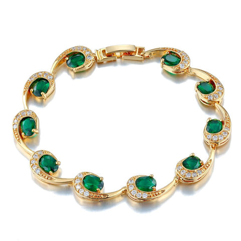 925 Sterling Silver Green Emerald Crystal Jewelry Bracelets