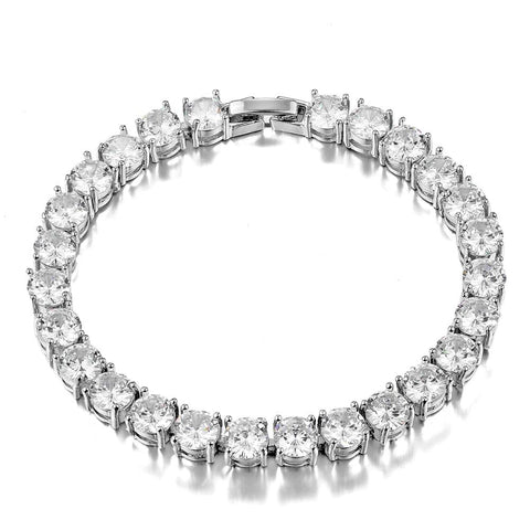925 Sterling Silver 6MM Charm Zircon Crystal Bracelet