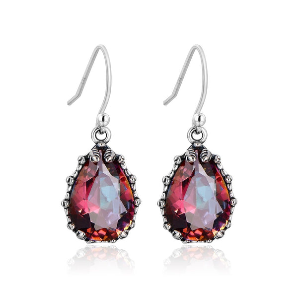 925 Sterling Silver Colorful Water Drop Gemstones Earrings