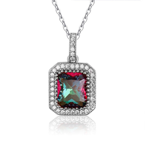 925 Sterling Silver Colorful Zircon Pendant Necklace