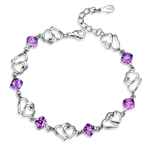 925 Sterling Silver Natural Purple Amethyst Double Love Heart to Heart Cute Trendy Chain