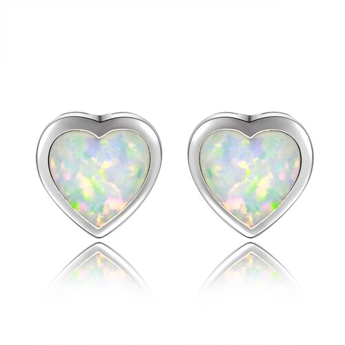 925 Sterling Silver White Opal Stud Earrings
