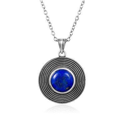 925 Sterling Silver Lapis Lazuli Natural Stone Pendant Necklace