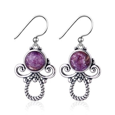 925 Sterling Silver Natural Purple Charoite Beads Stud Earrings