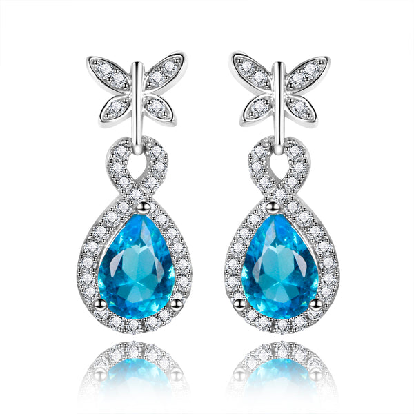925 Sterling Silver Blue Gemstone Earrings
