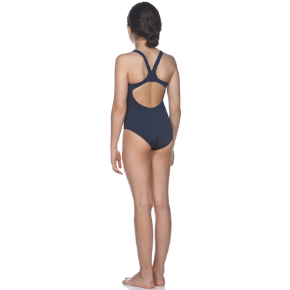 Arena Solid Swim Pro One Piece Girl's Training Swimwear - Navy