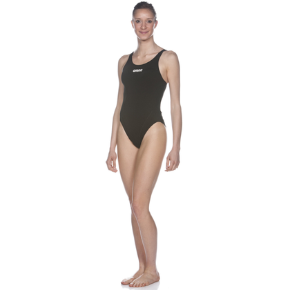 Mustang Arena Solid Swim Tech High One Piece Women's Training Swimwear - Black