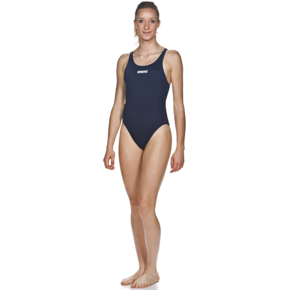 Arena Solid Swim Tech High One Piece Women's Training Swimwear - Navy