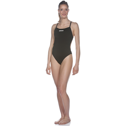 Mustang Arena Solid Light Tech High One Piece Women's Training Swimwear - Black
