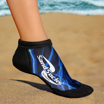 Low Top Sand Socks for Beach Volleyball – Blue Lightning