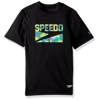 Speedo - Rashguard JR Short Sleeves - Black / Grey / Yellow / Blue