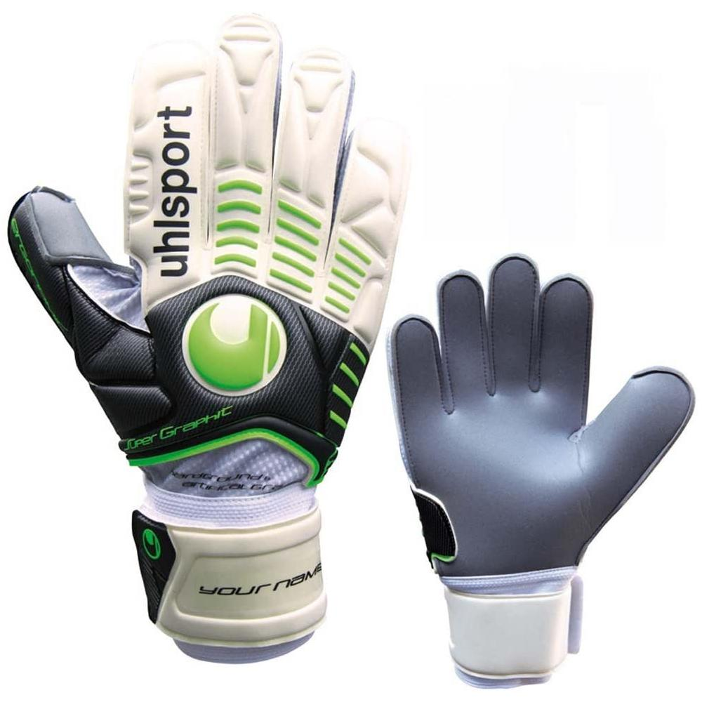 Ergonimic Soft Graphit Goal Keepers Gloves - Uhlsport - Black/White/Green