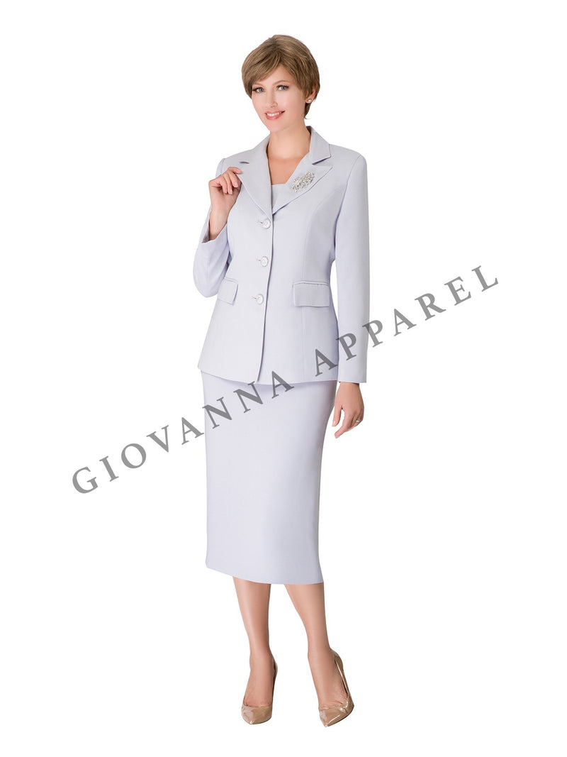2pc Notch Collar 3-button Skirt Suit w/ Brooch - Plus Size