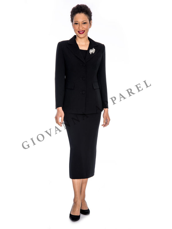 2pc Notch Collar 3-button Skirt Suit w/ Brooch