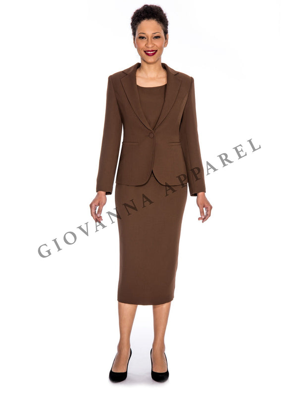 3pc Basic Notch Collar 1-button Skirt Suit