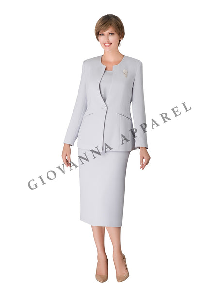 3pc Collarless 1-button Suit with Brooch - Plus Size
