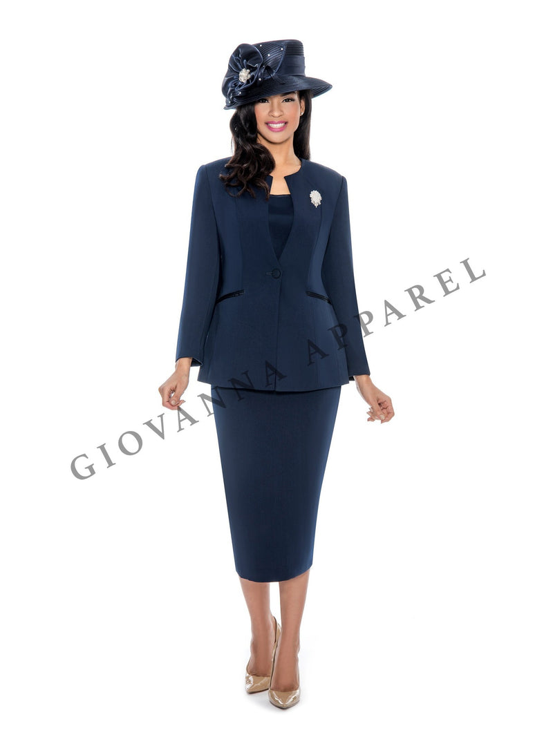 3pc Collarless 1-button Suit with Brooch