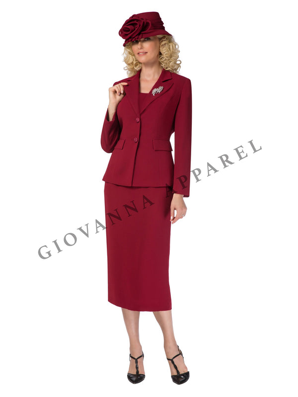2pc Notch Collar 2-button Skirt Suit w/ Brooch - Plus Size
