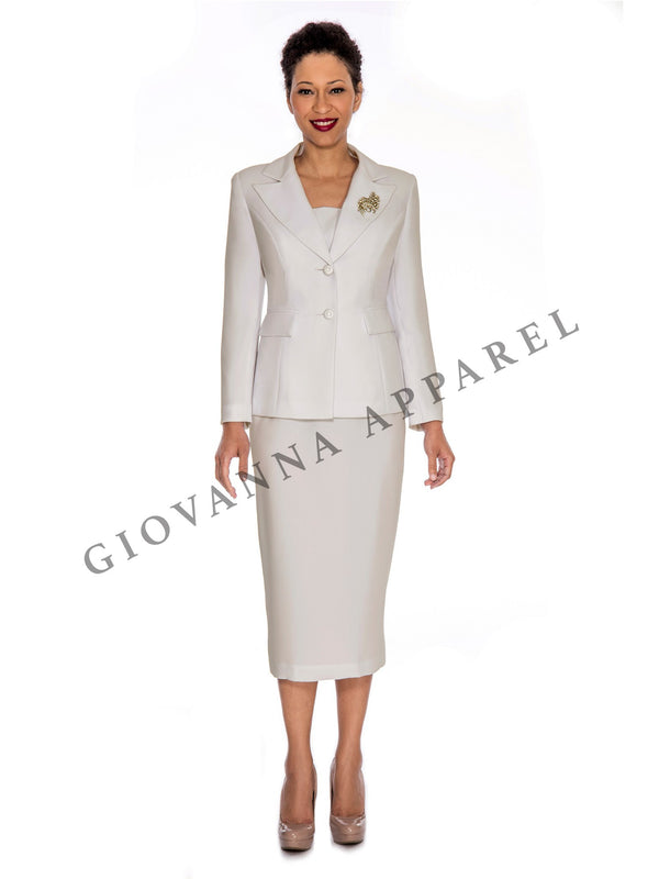 2pc Notch Collar 2-button Skirt Suit w/ Brooch
