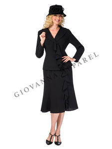 2pc Notch Collar Ruffle Skirt Suit