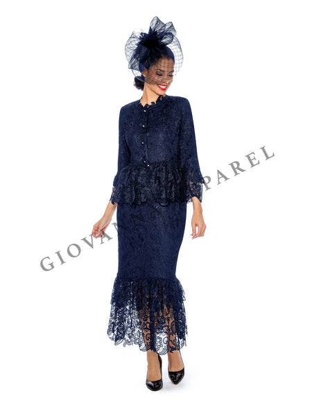 2pc Tiered Lace Skirt Suit - Plus Size