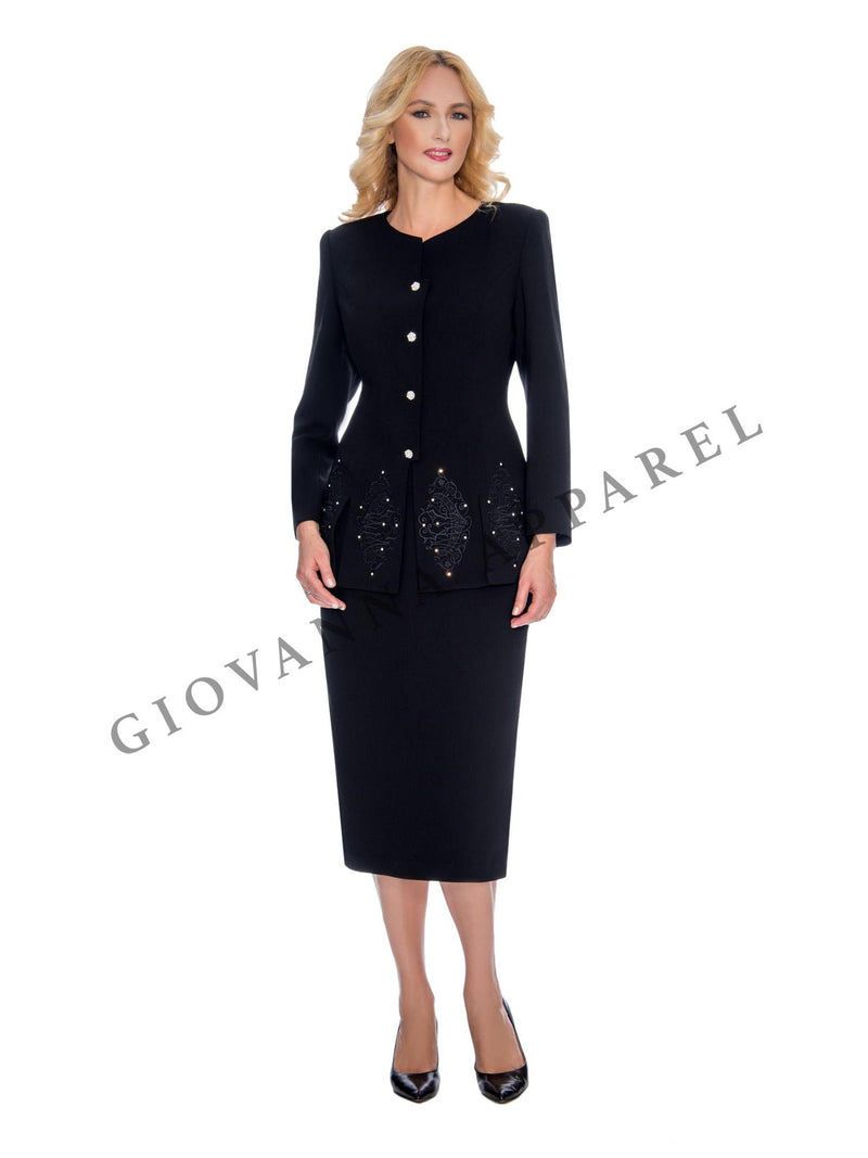 2pc Skirt Suit w/ Multi-Slit Embroidered Jacket - Plus Size
