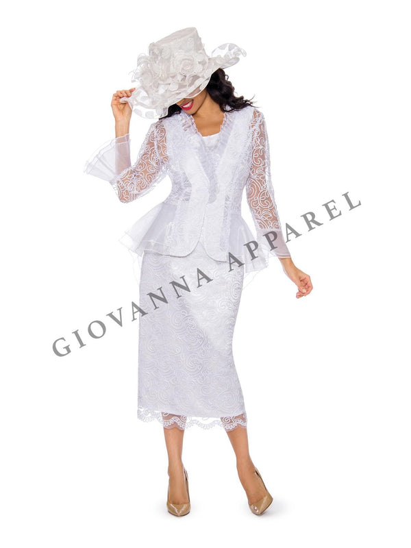 3pc Lace Suit w/ Ruffled Neckline & Organza Trim