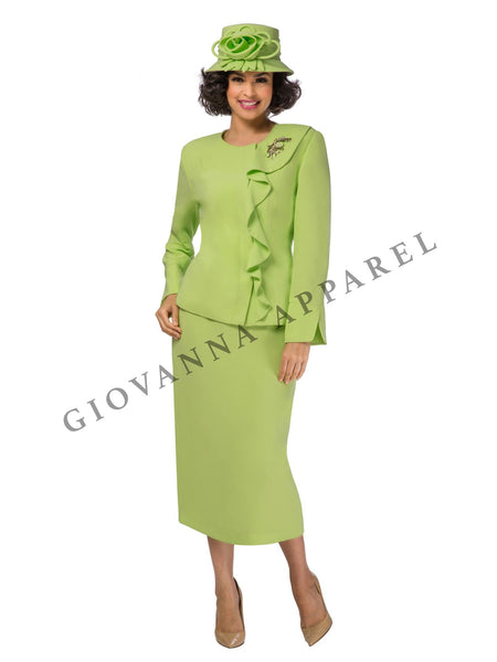 2pc Off Center Ruffle Skirt Suit w/ Brooch - Plus Size