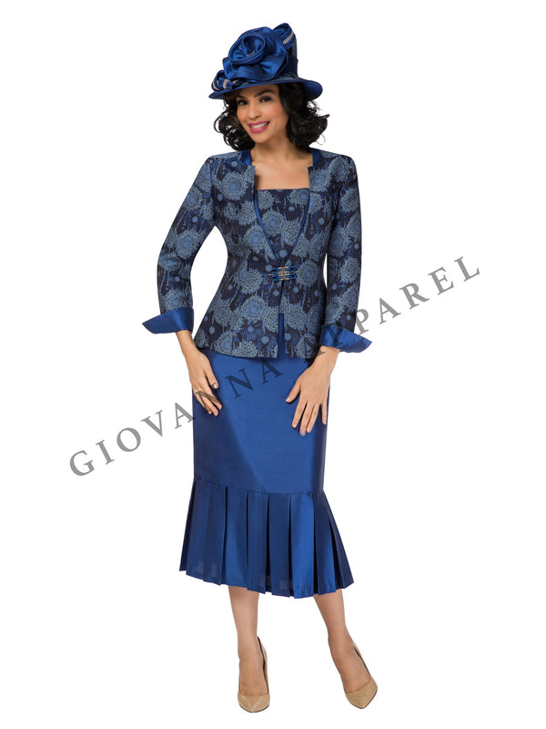 2pc Floral Brocade Jkt + Shantung Skirt with Pleats - Plus Size
