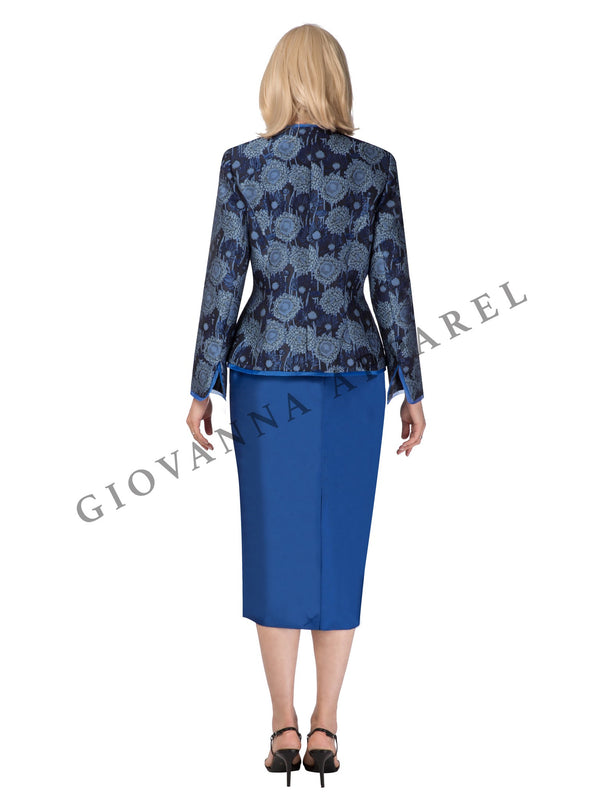 2pc Sapphire Brocade Jkt & Solid Shantung Skirt - Plus Size