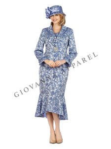 2pc Ruffled Collar Peplum Brocade Hi-Lo Skirt Suit