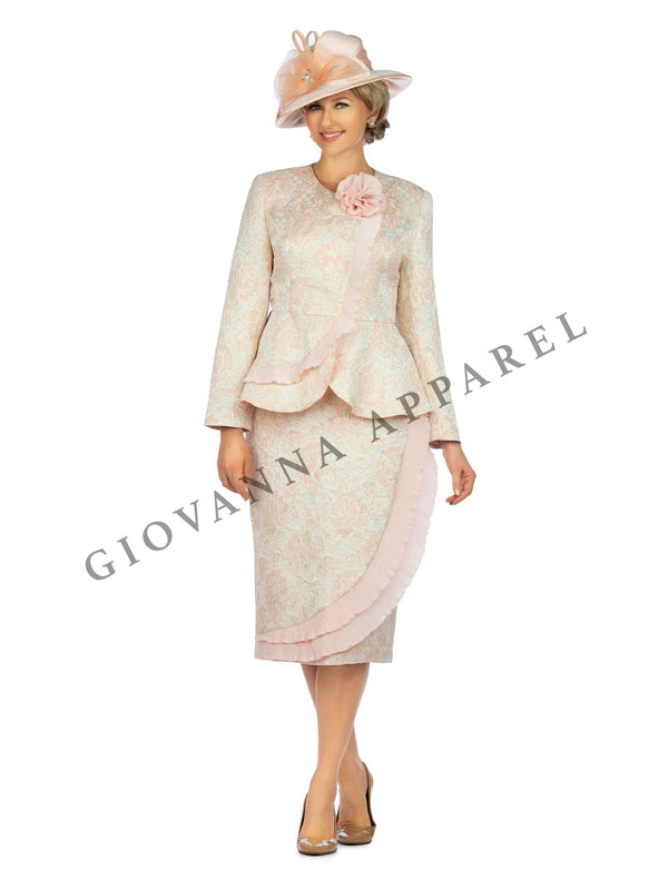 2pc Metallic Brocade Suit w/ Satin Flower Brooch - Plus size