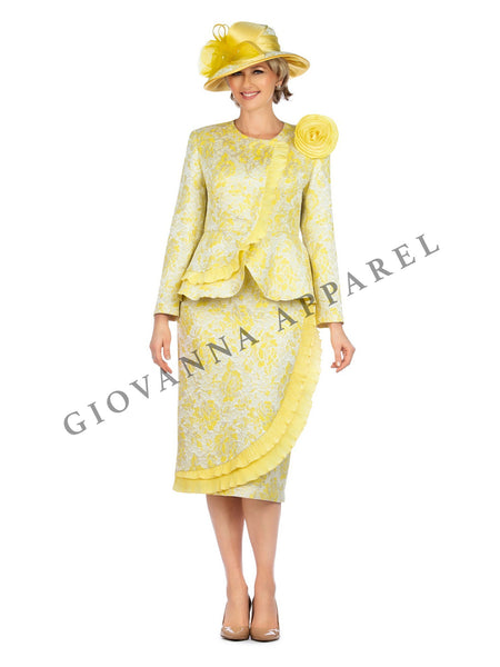 2pc Metallic Brocade Suit w/ Satin Flower Brooch