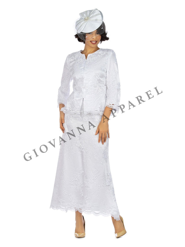 2pc Bell Slv Crochet Hemmed Lace Skirt Suit
