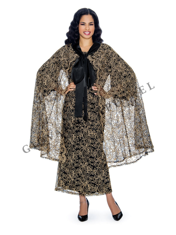 2pc Bell Sleeve Maxi Lace Dress and Wrap - Plus Size