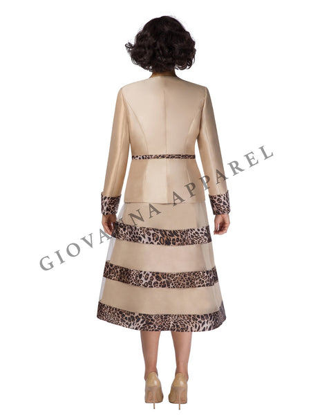 3pc Leopard & Mesh Full Flare Skirt Suit - Plus Size
