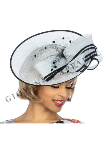 Wide Brim Mesh Fascinator - Two Tone