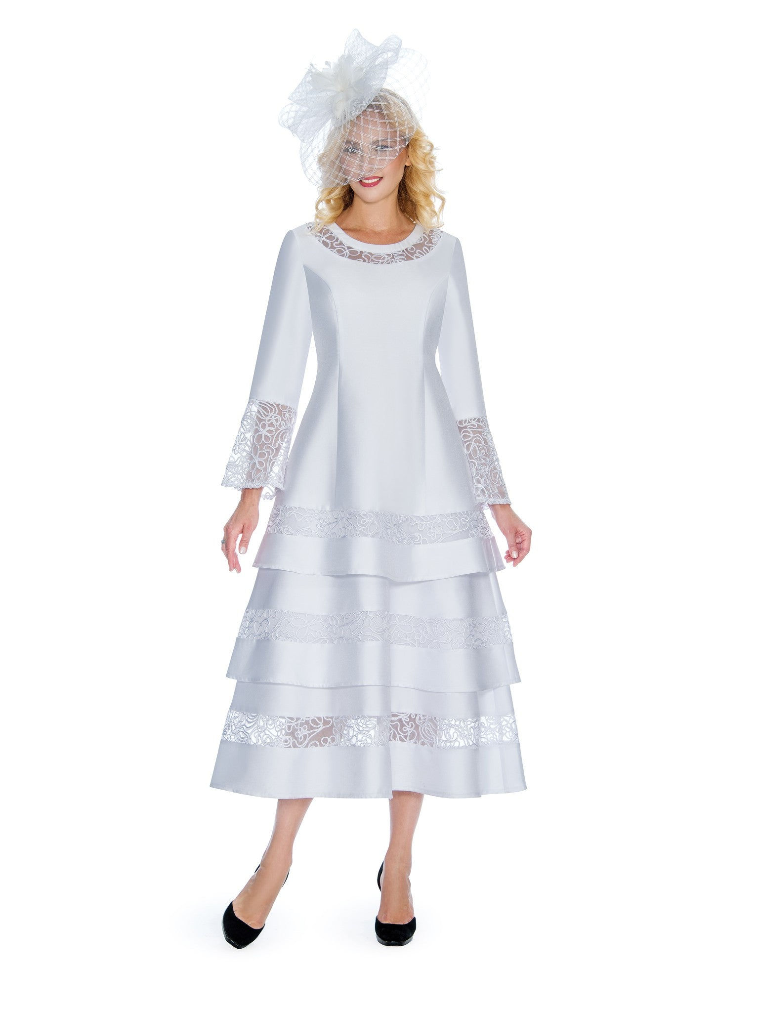 1pc Bell Sleeve 3-Tier Dress w/ Sheer Lace Trim - Plus Size