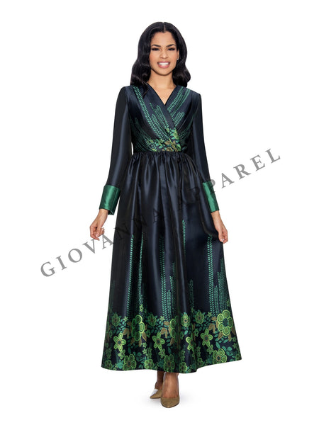 1pc Virtual Silk & Jacquard Long Dress - Plus Size