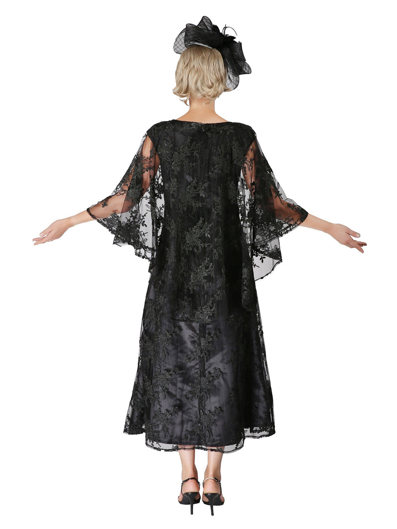 2pc Lace Dress & Hi-Lo Pull Over Lace Cape - Plus size