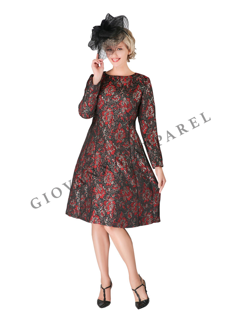 1pc Lux Brocade A-line Dress w/ Piping - Plus Size