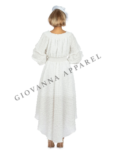 1pc Off Shoulder Popcorn Hi-Lo Dress