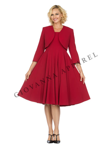 2pc Multi-Paneled Flare Dress w/ Jkt-Plus size