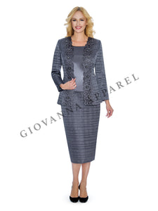 3pc Crinkle Satin Laser-cut Beaded Skirt Suit