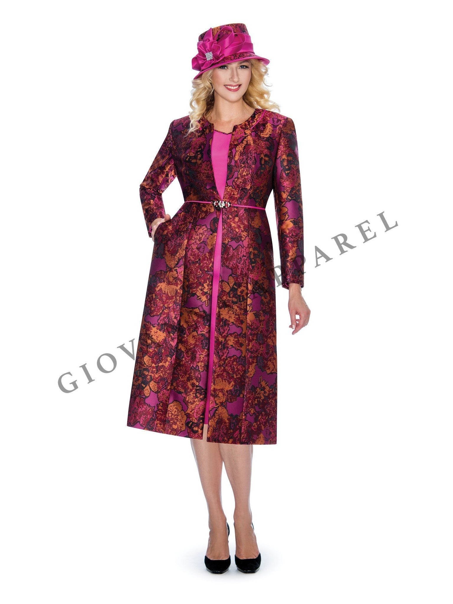 2pc Art of Brocade Long Coat + Dress - Plus Size