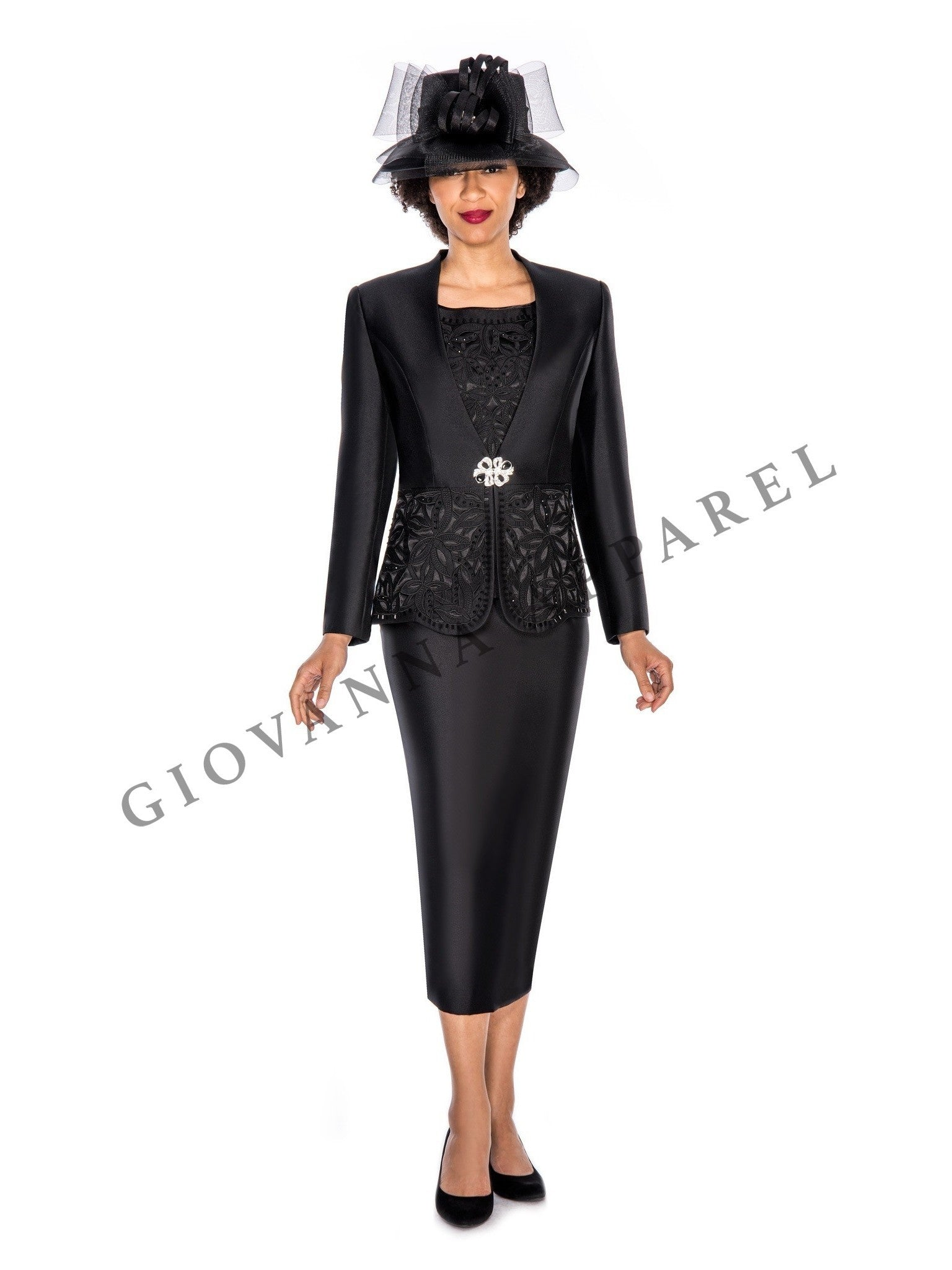 3pc Collarless Cutout & Beading Skirt Suit - Plus Size